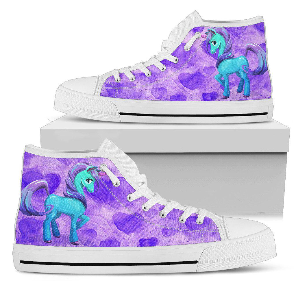 Shopeholic:Unicorn Purple Womens High Top Shoes