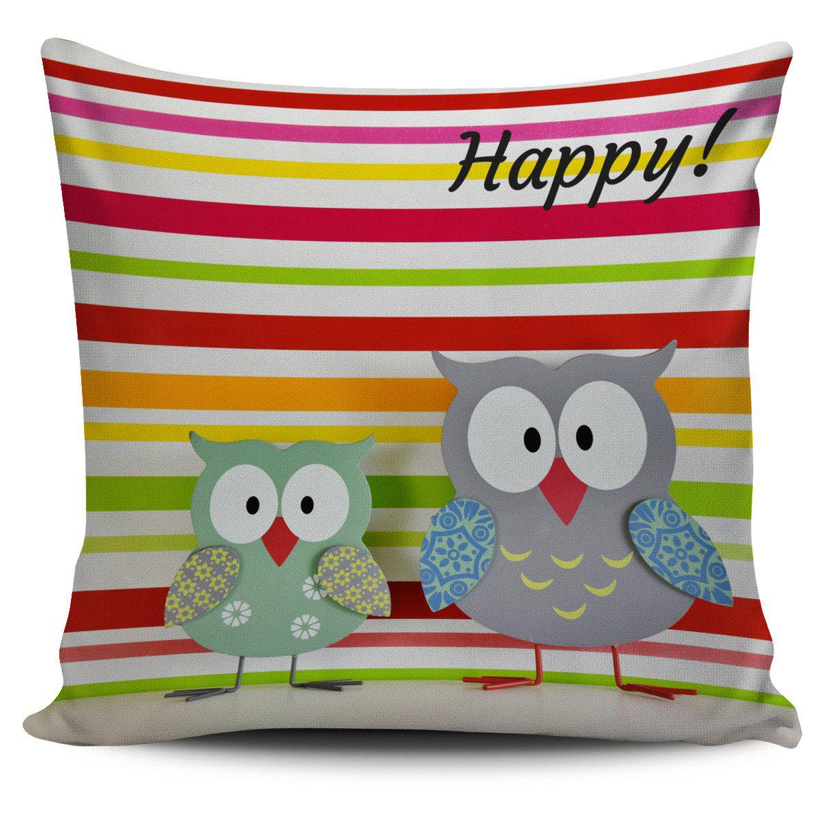 Shopeholic:Pillow Cover Owl Happy