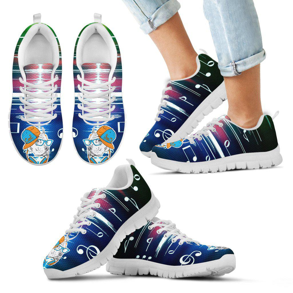 Shopeholic:Pitbull love music Kid's Sneakers