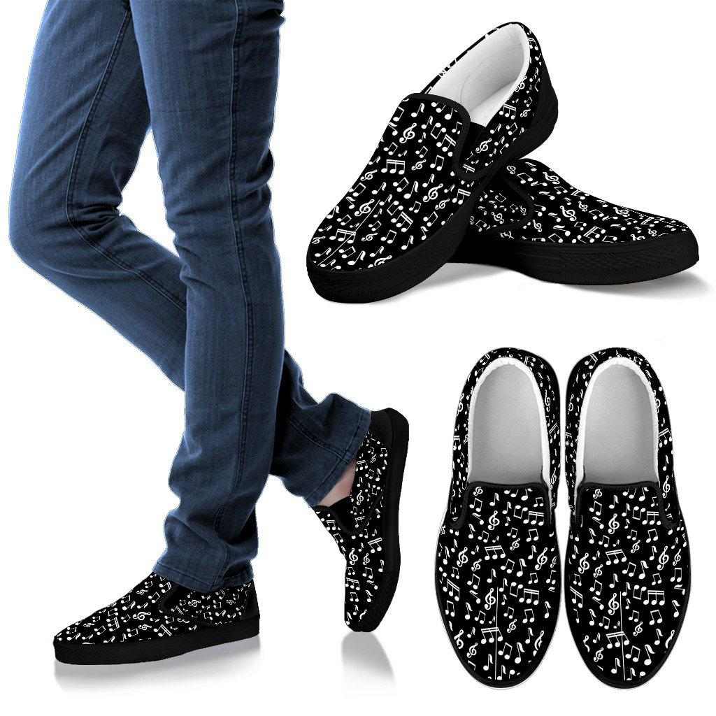 Shopeholic:Black Music Note Men's Slip Ons