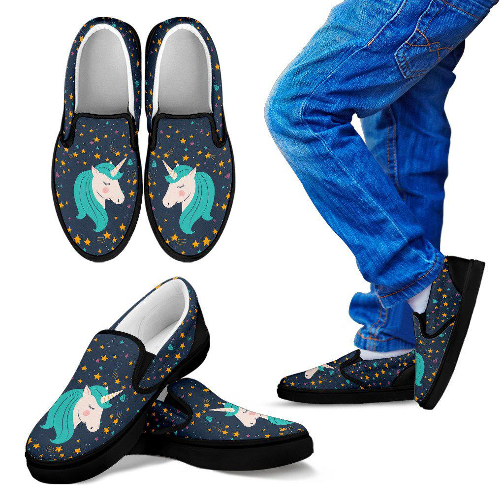 Shopeholic:Starry Unicorn Kid's Slip Ons