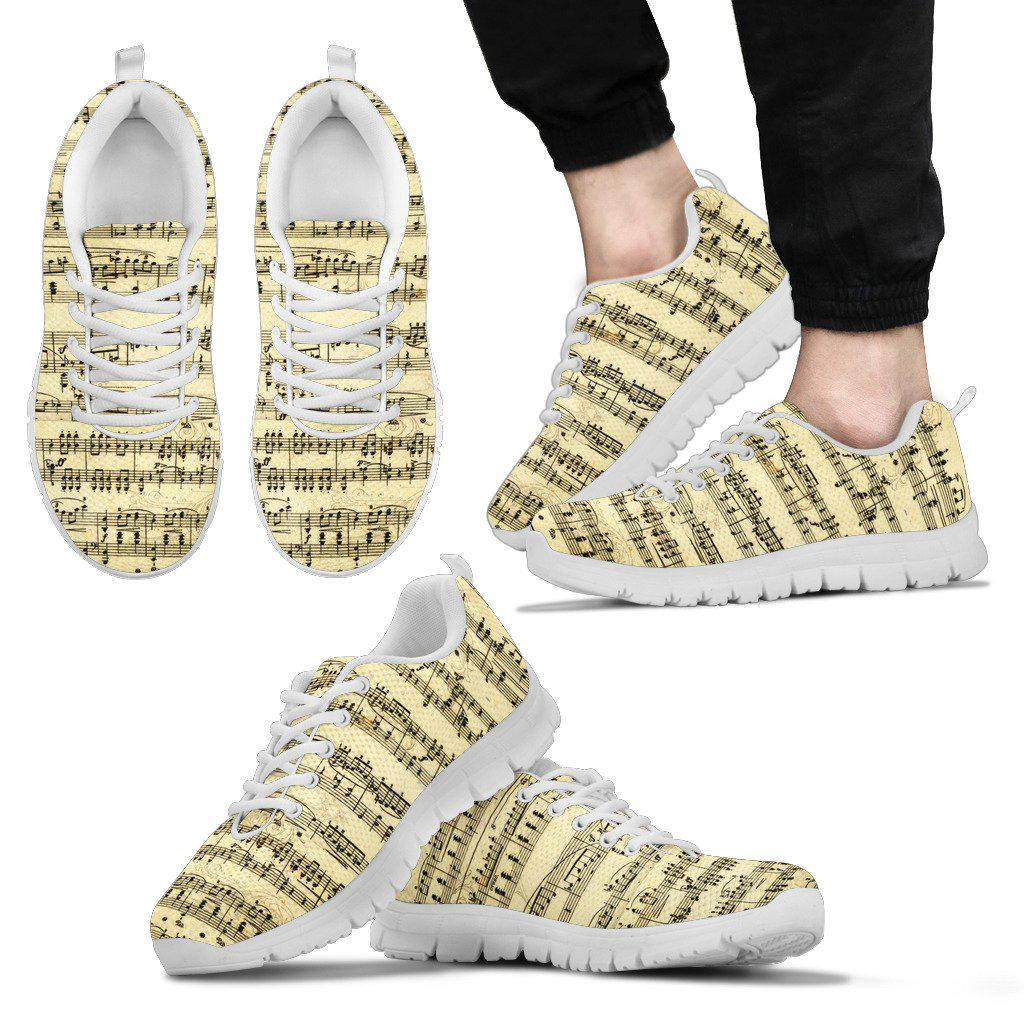 Shopeholic:Sheet Music Sneakers For Men Whote Top