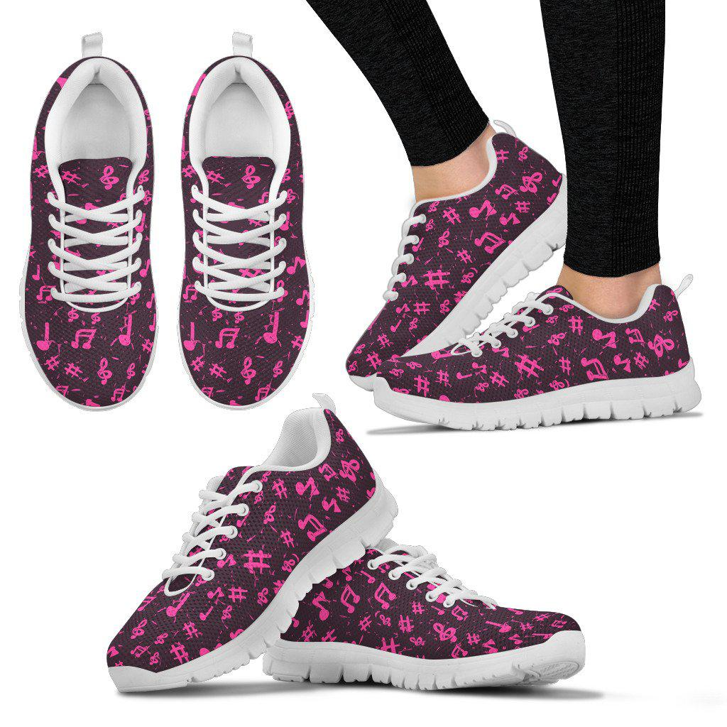 Shopeholic:Pink Music Notes Women's Sneakers