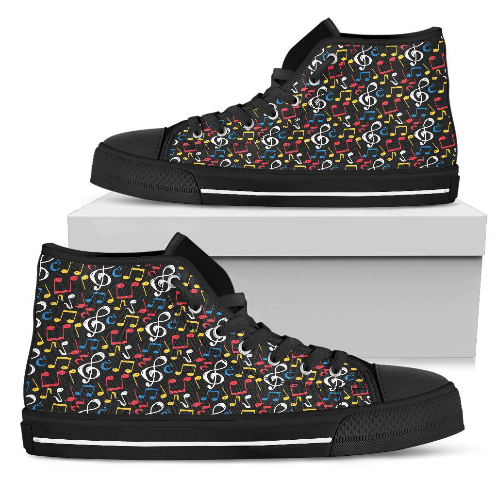 Shopeholic:Music Notes Mix of Colors Shoes. Womens High Top Canvas Black Sole