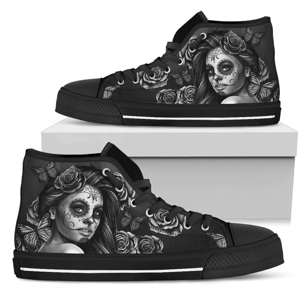 Calavera Girl - B/W - Women's High Top Canvas Shoes