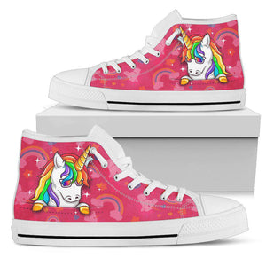 Shopeholic:Rainbow Unicorn Pink Women's High Top Shoes