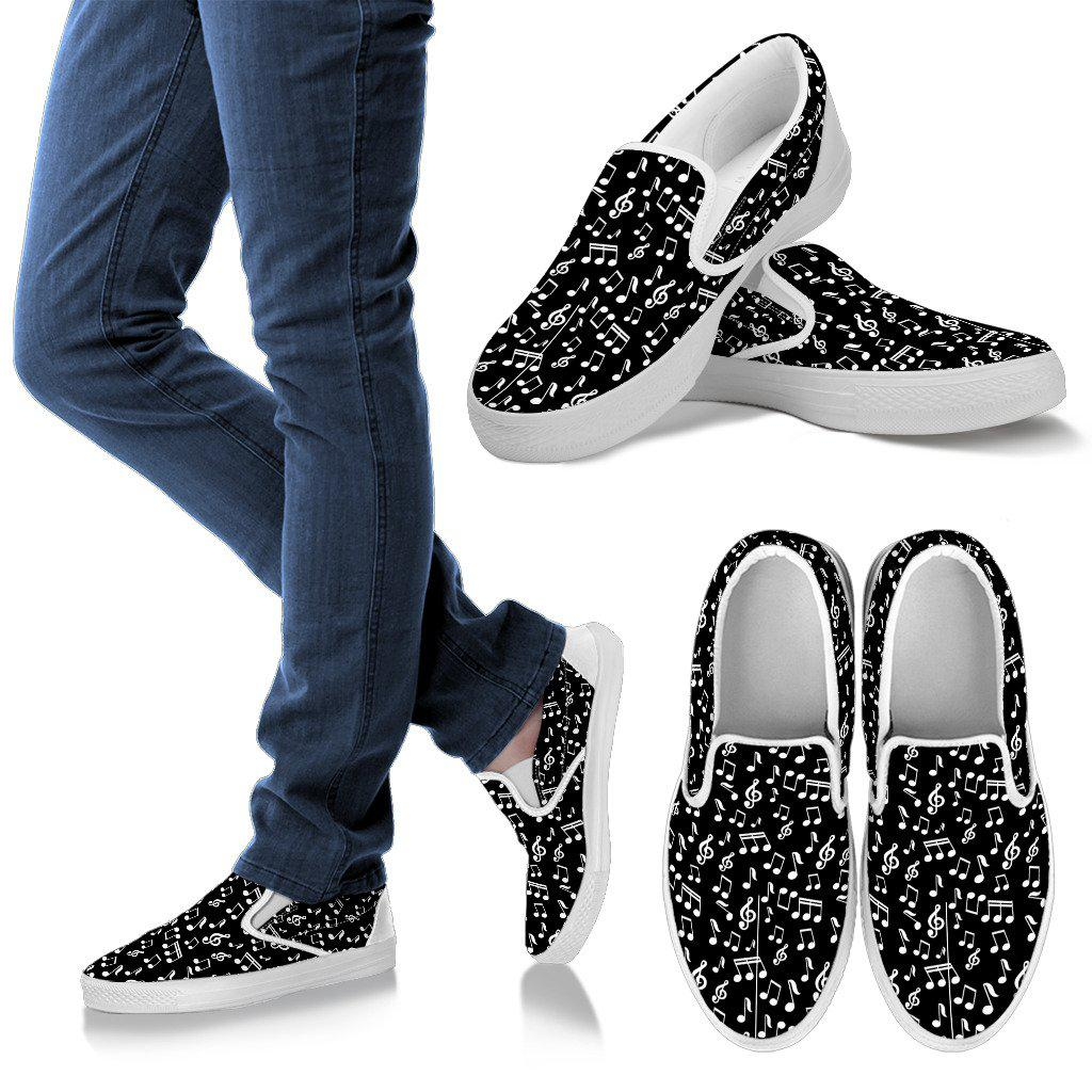 Shopeholic:Black Music Design Women's Slip Ons