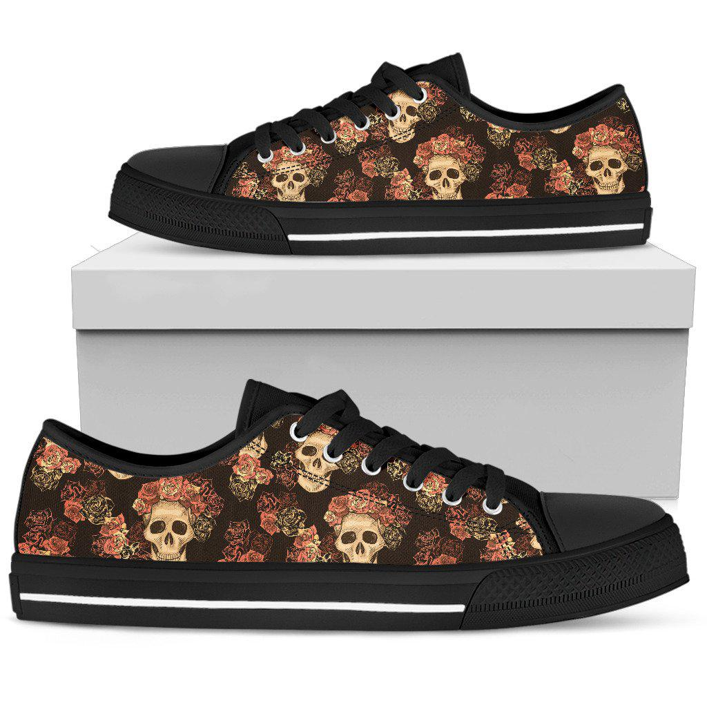 Shopeholic:Gothic Skull & Roses Shoes - Low Top