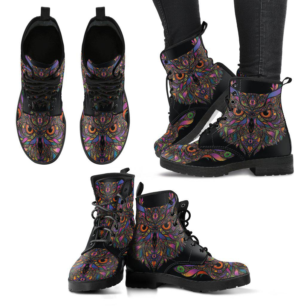 Shopeholic:Colorful Owl Women's Leather Boots