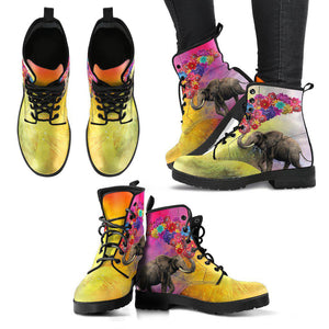 Shopeholic:Elephant With Balloons Women's Leather Boots