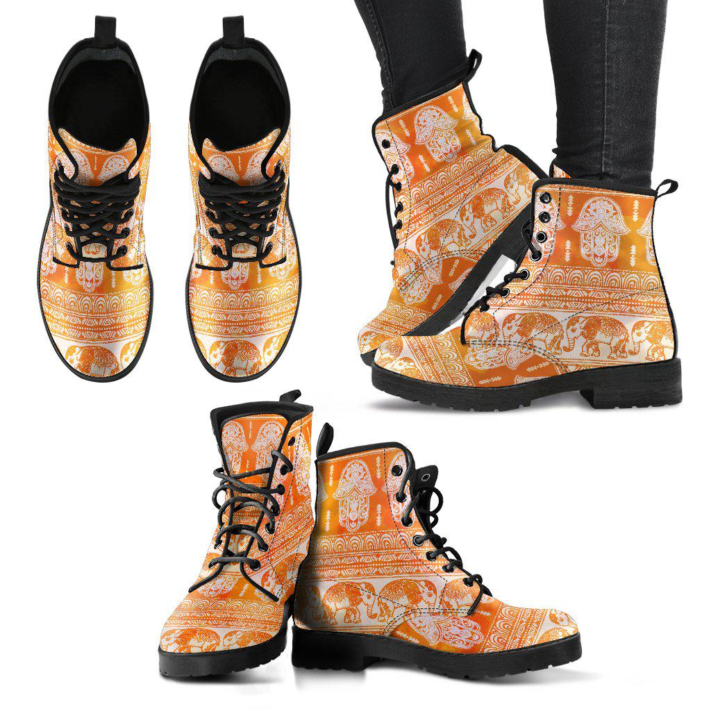 Shopeholic:Golden Hamsa and Elephant Women's Leather Boots