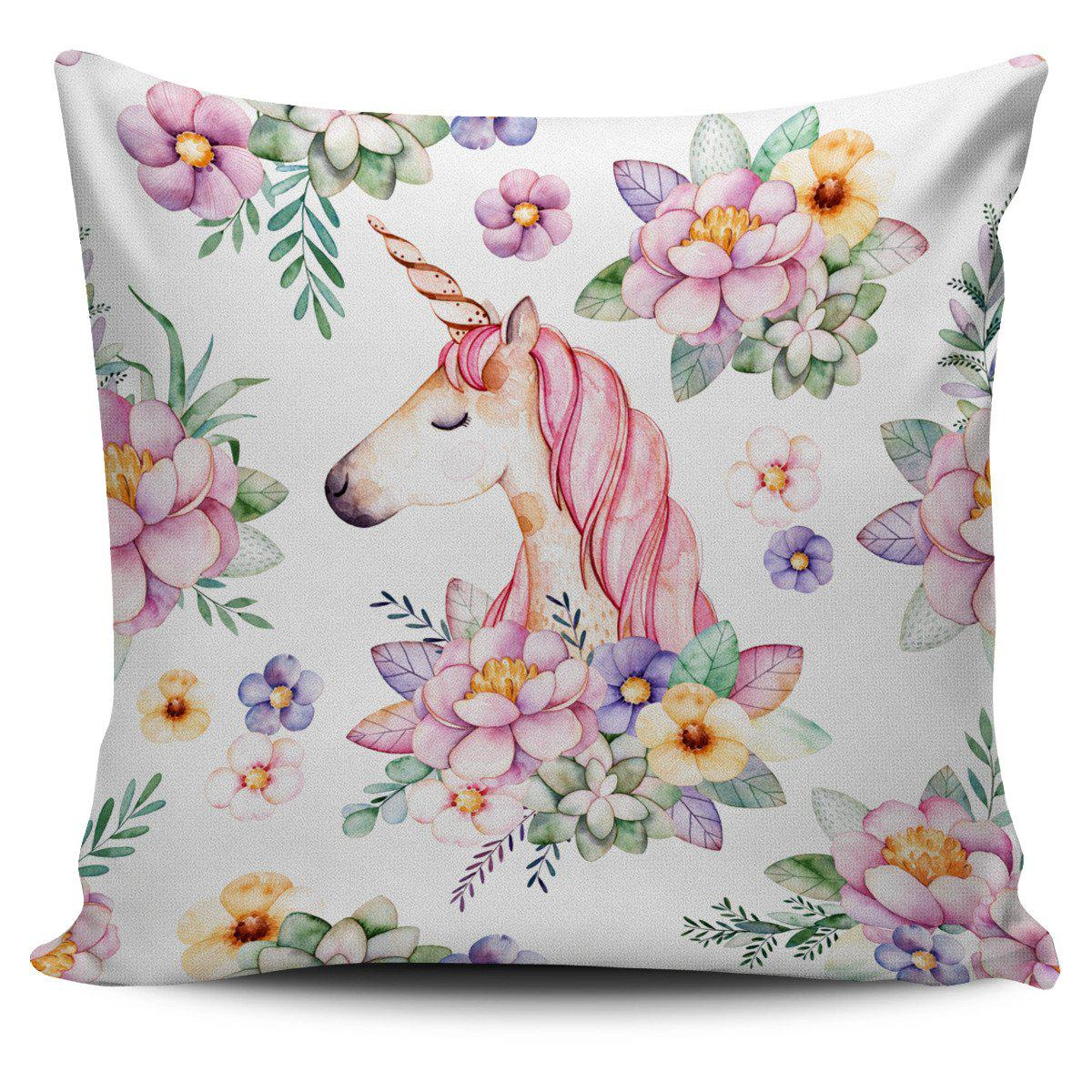 Shopeholic:Unicorn Floral Pillow Cover