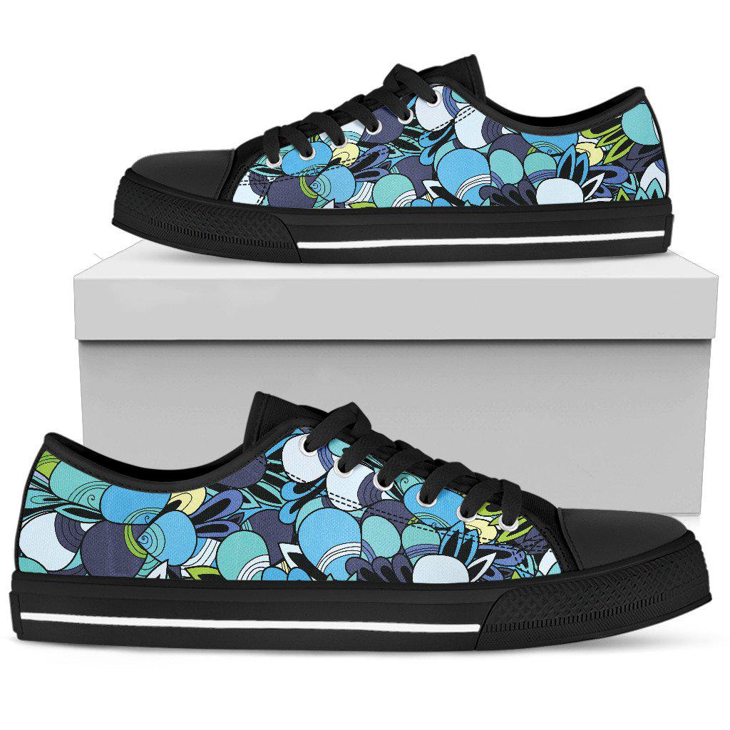 Shopeholic:Funky Patterns in Blues - Women's Low Top Shoes (Black)