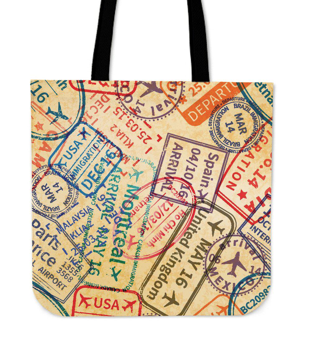 Shopeholic:Travel Stamps Tote Bag