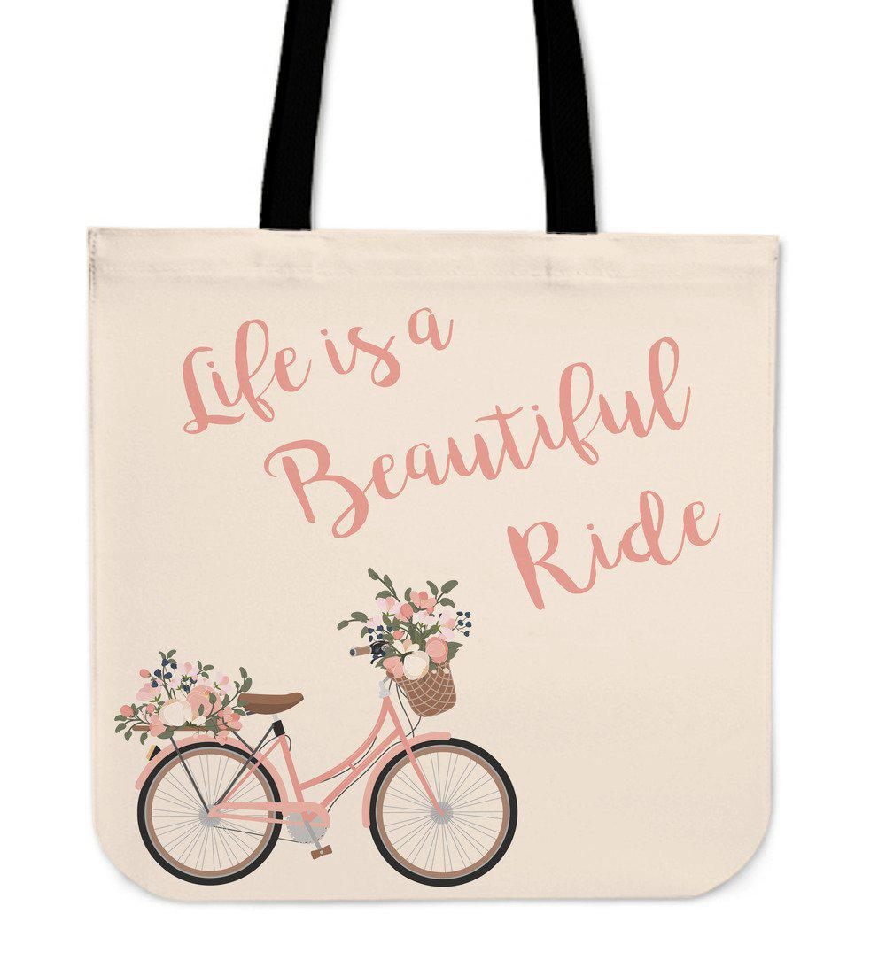 Shopeholic:LIFE IS A BEAUTIFUL RIDE TOTE BAG