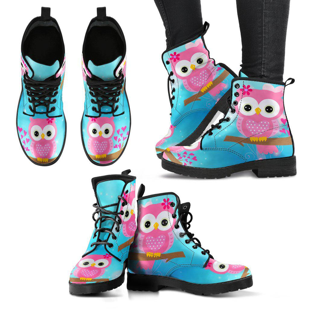 Shopeholic:Pink Owl Design Ladies Leather Look Boots