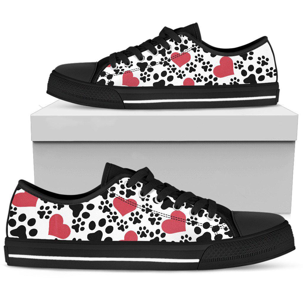 Shopeholic:Women`s Low Top Shoes Dog Prints Black