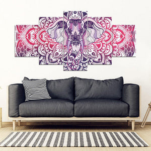 Shopeholic:Elephant Mandala 5 Piece Framed Canvas Art