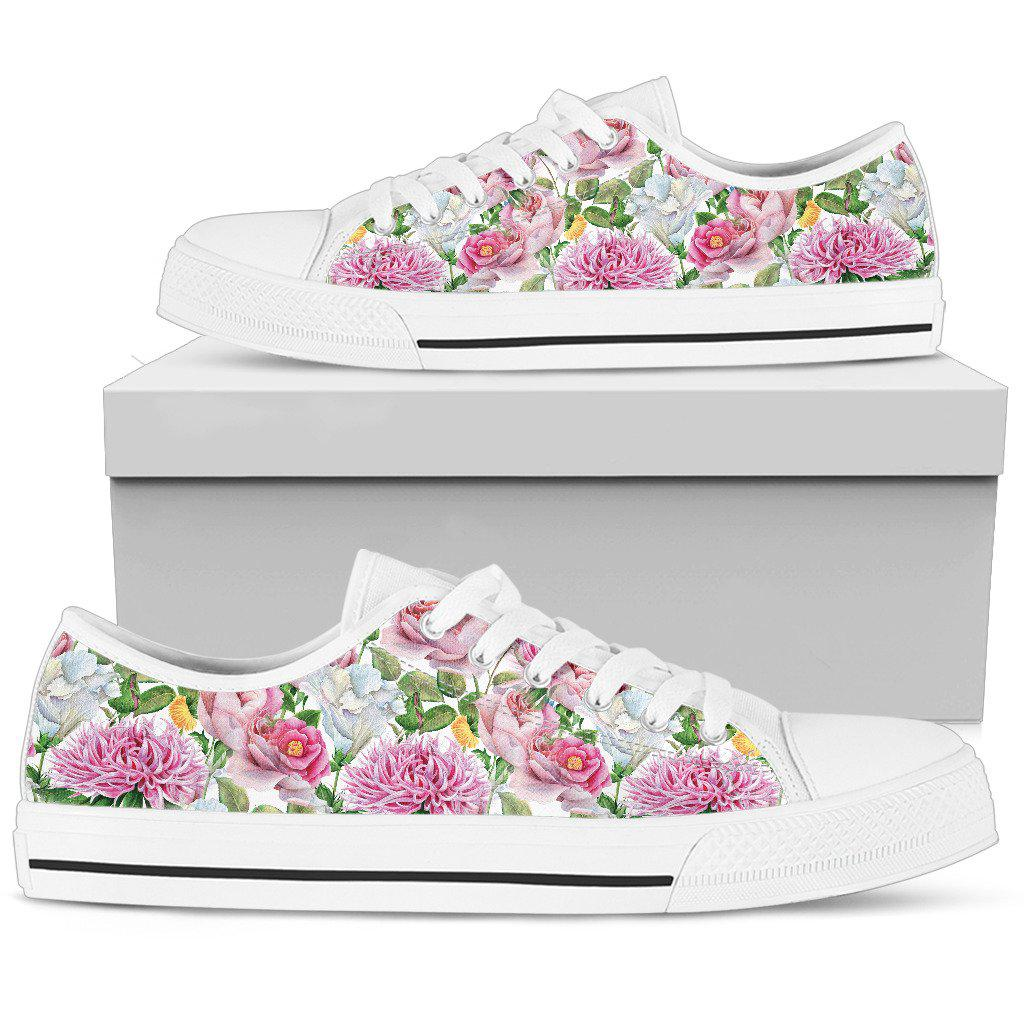 Shopeholic:Watercolor Floral Women's Low Top Shoes
