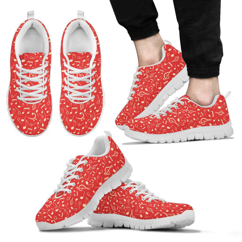 Shopeholic:Red Music Notes Sneakers for Men