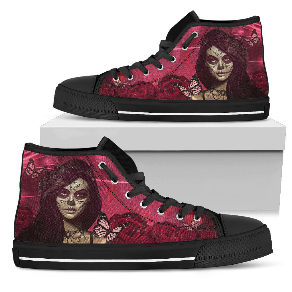 Shopeholic:Calavera Red Roses Women's High Top Shoes