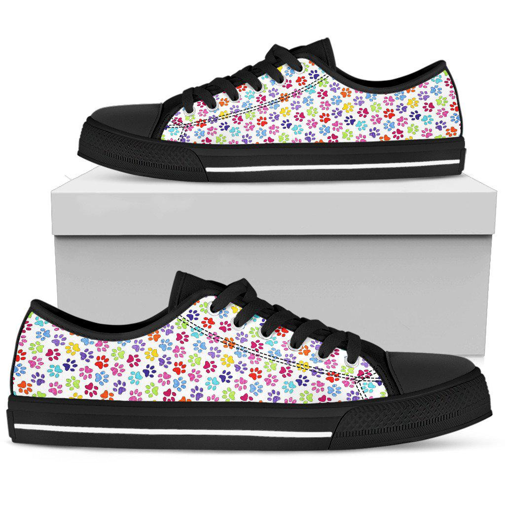 Shopeholic:Painted Paw Print Black Low Top Sneaker