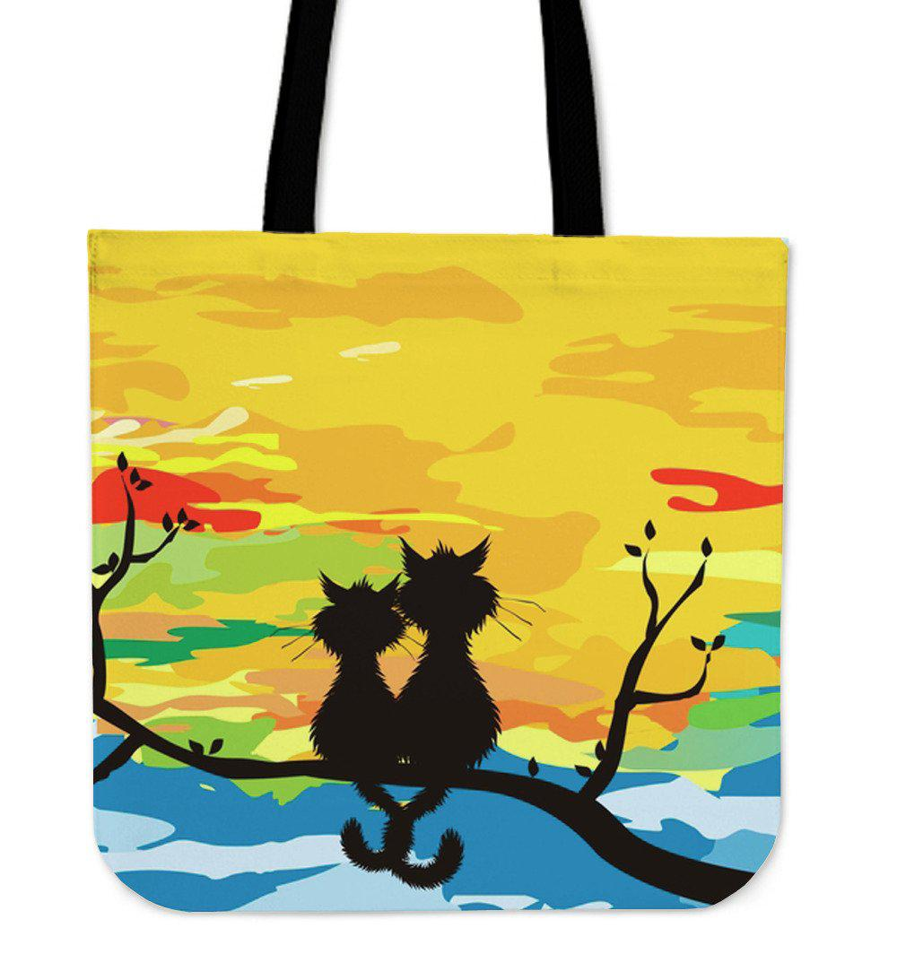 Shopeholic:Sunset Cats Cloth Tote Bag
