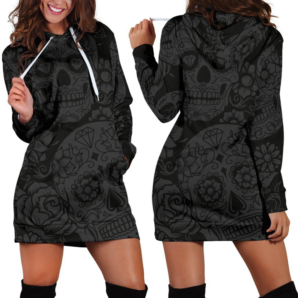 Shopeholic:Dark Sugar Skull Women's Hoodie Dress