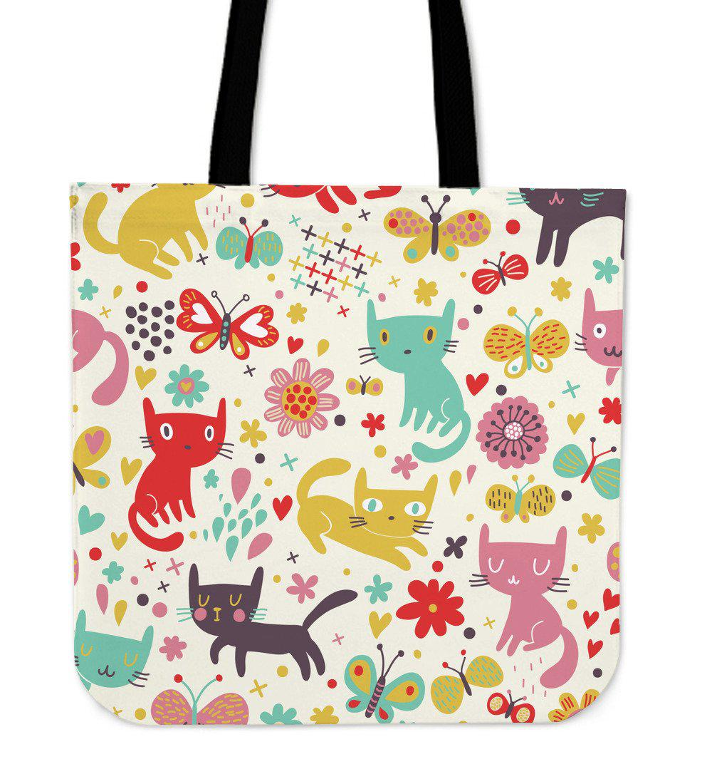 Shopeholic:Butterfly Cat Cloth Tote Bag