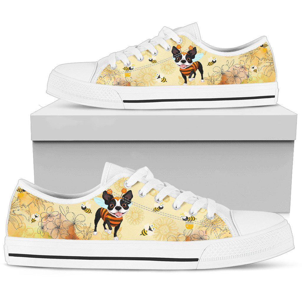 Shopeholic:Boston terrier Women's Low Top Shoe