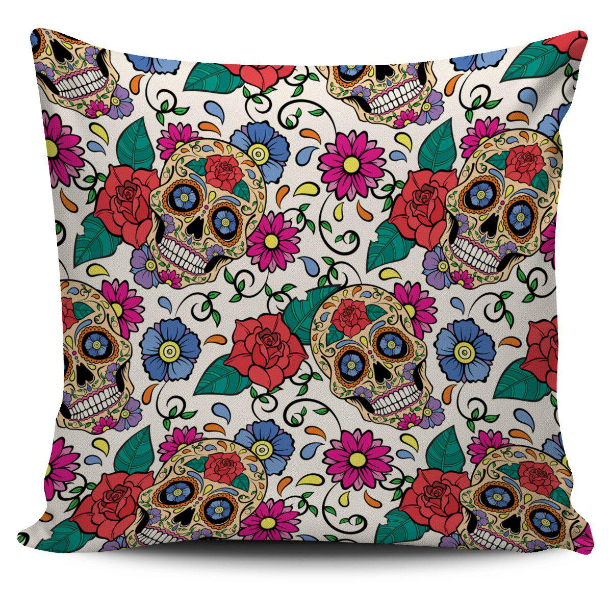 Shopeholic:Green White Skull Pillow Cover