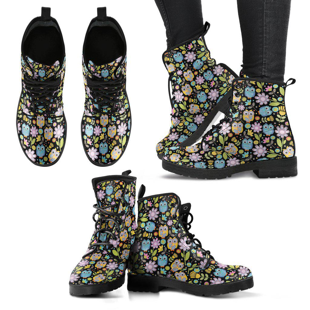 Shopeholic:Owl Pattern Women's Leather Boots