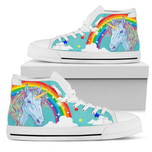 Shopeholic:Rainbow Unicorn Blue Women's High Top Shoes