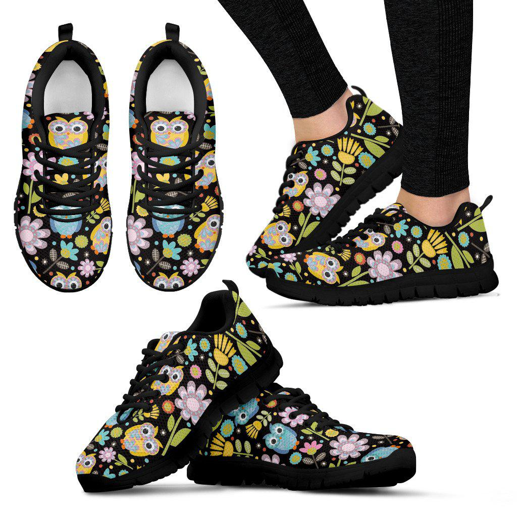 Shopeholic:Flowers and Owls Women's Sneakers