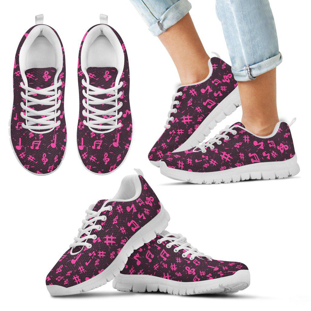 Shopeholic:Pink Music Notes Kid's Sneakers