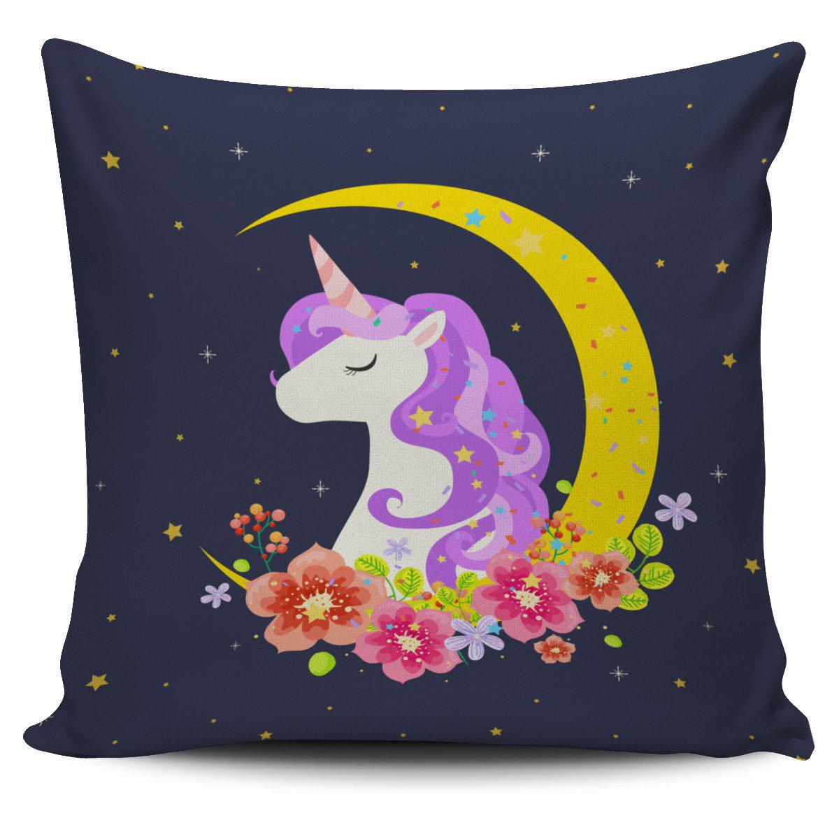 Shopeholic:Dark Blue Starry Night Crescent Moon Unicorn Pillow Cover