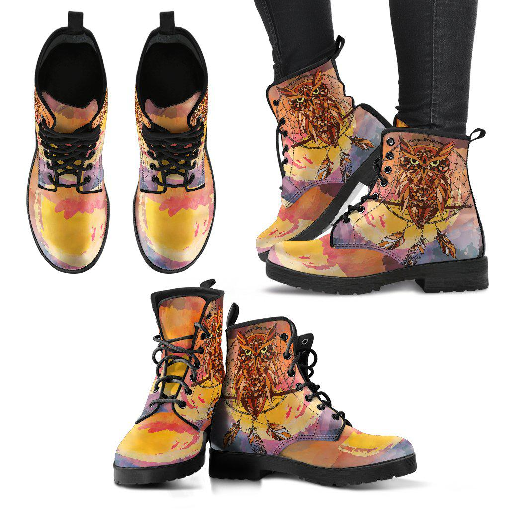 Shopeholic:Dream Catcher Owl Women's Leather Boots