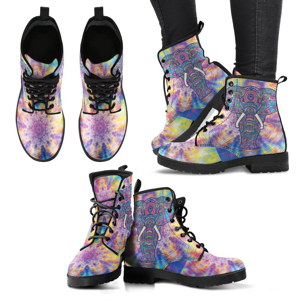 Shopeholic:Psychedelic Elephant Women's Leather Boots