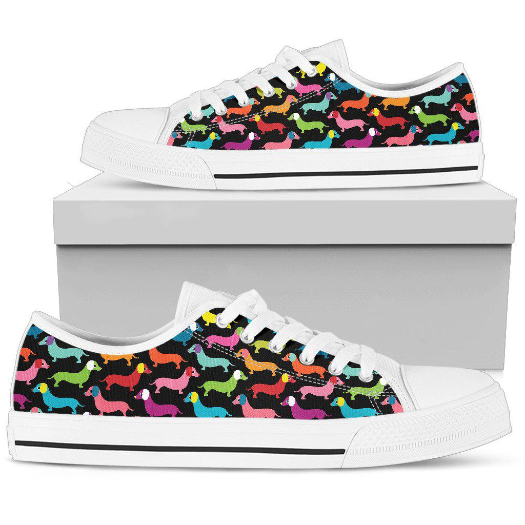 Shopeholic:Daschund Rainbow White Low Top Sneaker