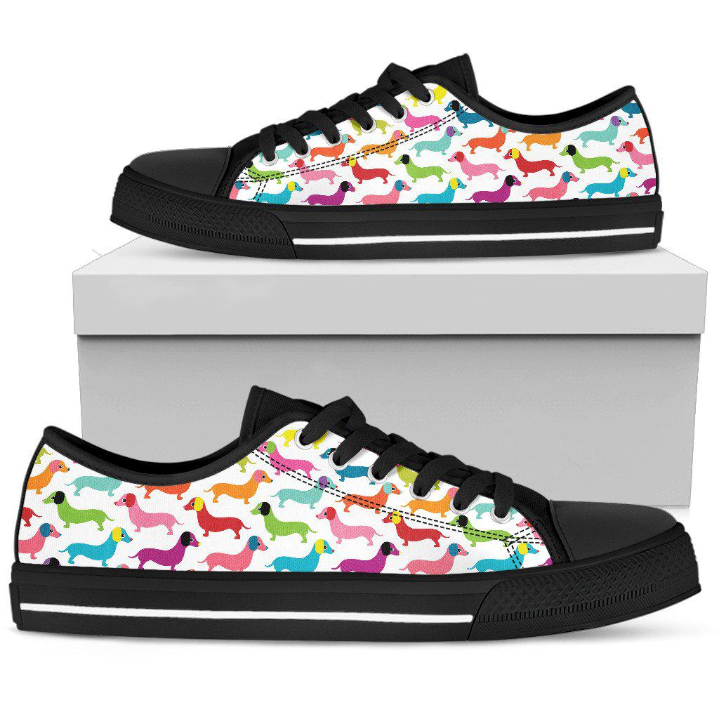 Shopeholic:Daschund Rainbow Black Low Top Sneaker