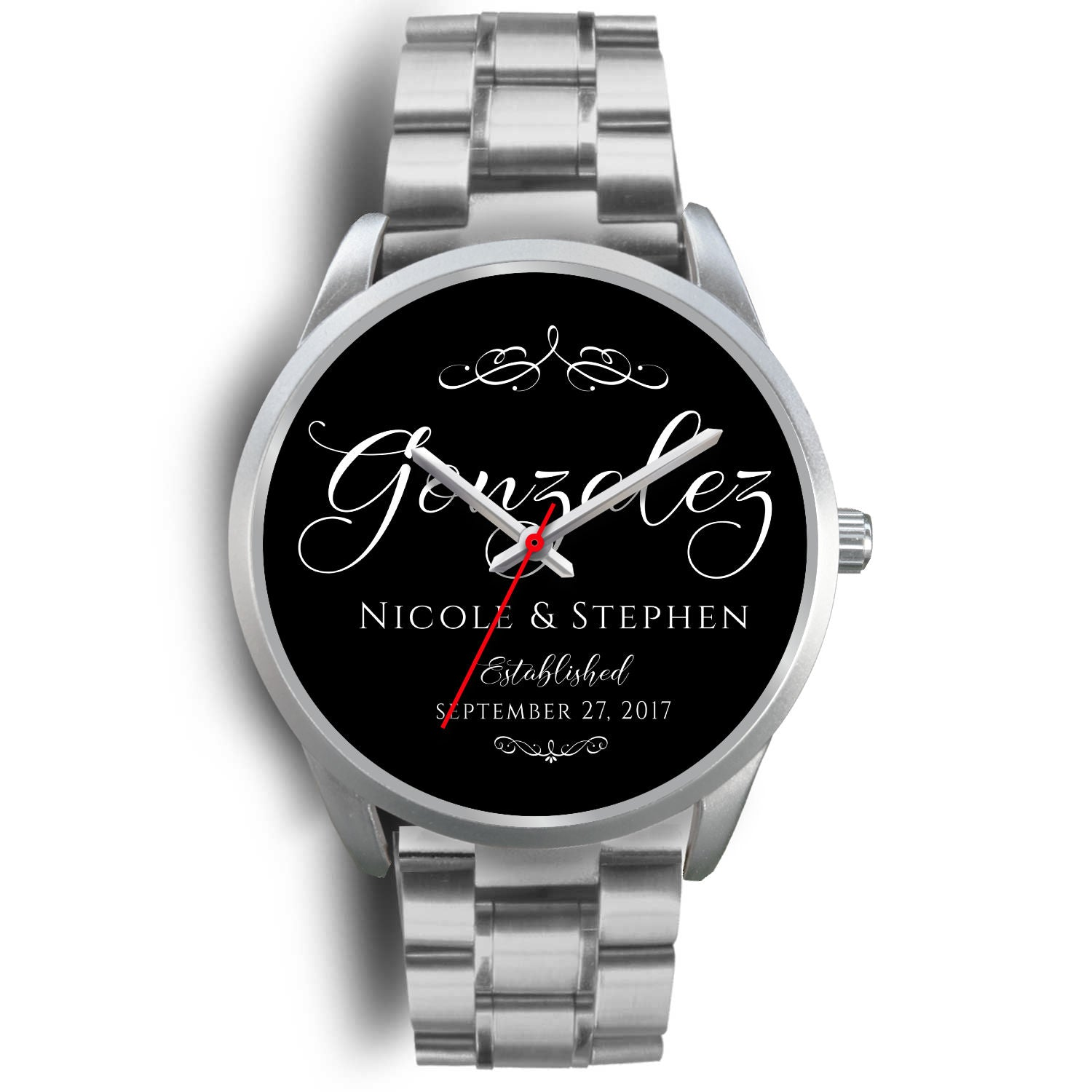 Shopeholic:Couple's Modern Script - Custom Watch
