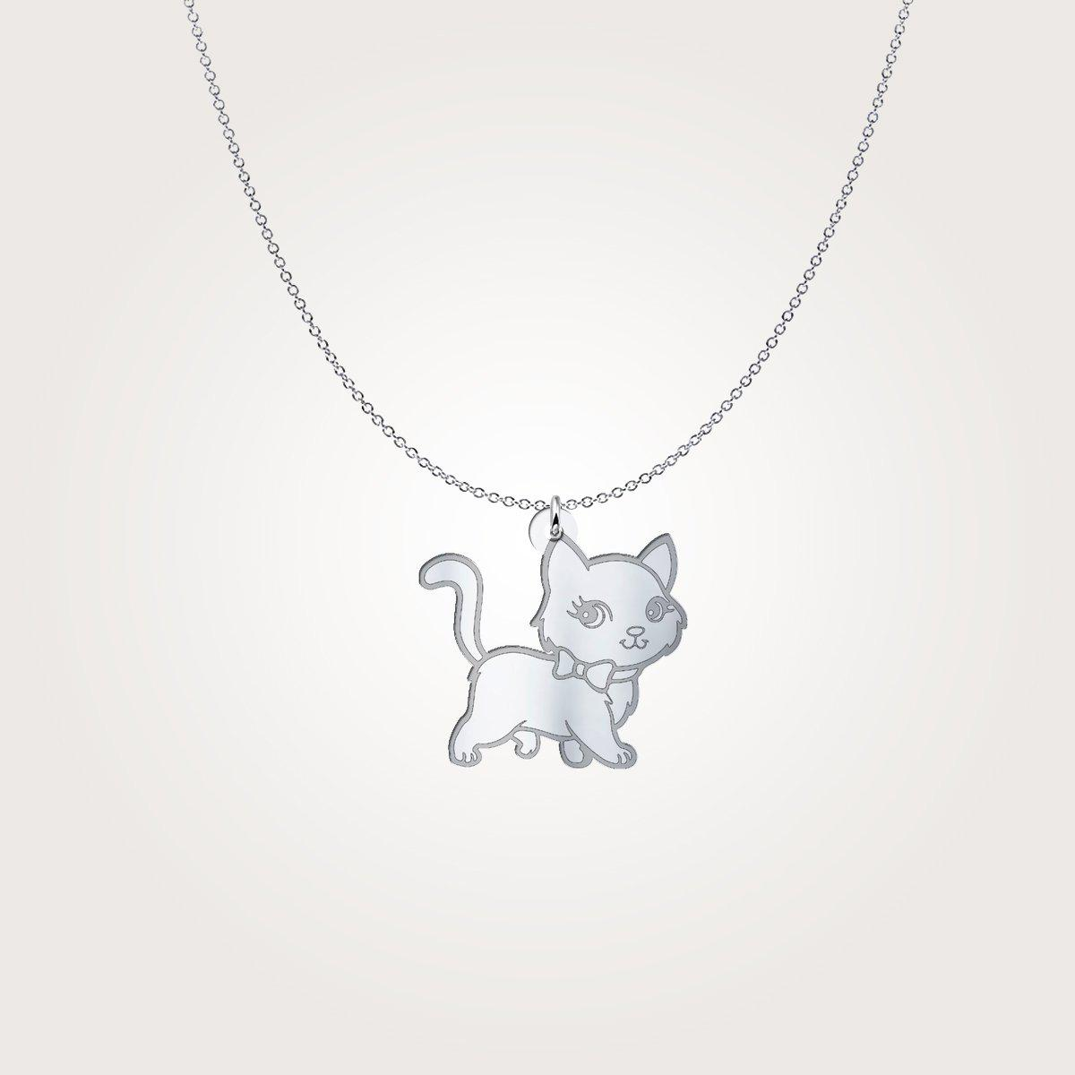 Shopeholic:Cartoon Cat - Sterling Silver Necklace