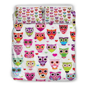 Colorful Owls Bedding Set