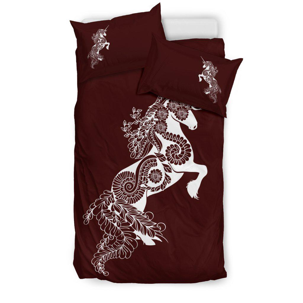 Mandala Unicorn - Maroon - Bedding Set
