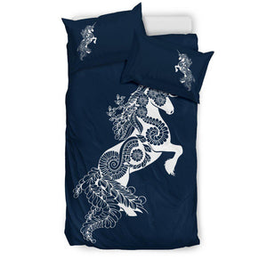 Mandala Unicorn - Navy Blue - Bedding Set