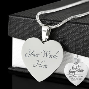 Shopeholic:Engraved Best Day Ever - Personalized Heart Pendant Stainless Necklace