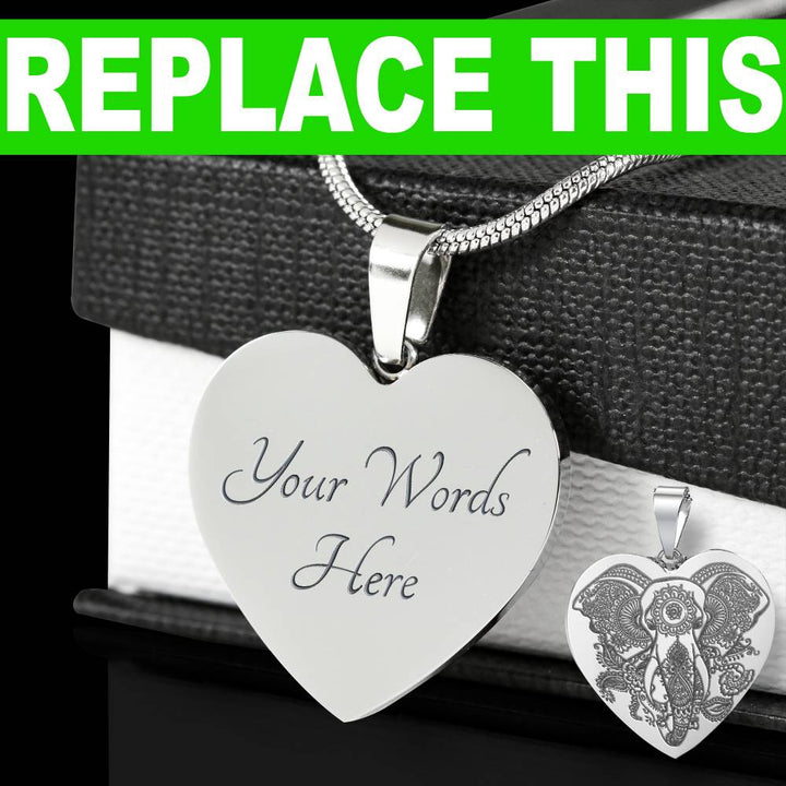 Shopeholic:Engraved Surname Laurel - Personalized Heart Pendant - Stainless Steel Necklace