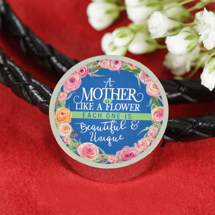 Shopeholic:Mother Is Like A Flower - Round Charm Leather Bracelet