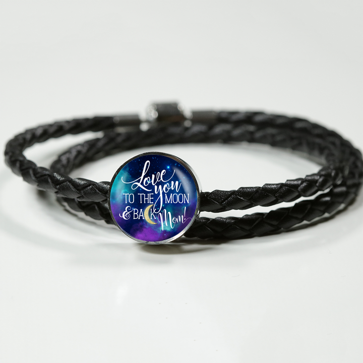 Love You To The Moon & Back Mom - Round Charm Leather Bracelet