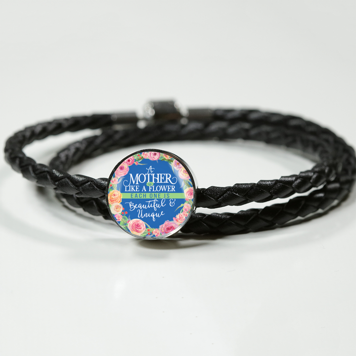 Mother Is Like A Flower - Round Charm Leather Bracelet